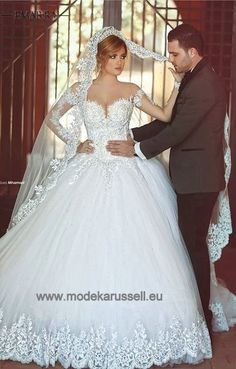 Vnaix Lace Sheer Long Sleeves Wedding Dress 2016 Lace Appliques Ball Gown with Long Train Bridal Wedding Gowns casamento