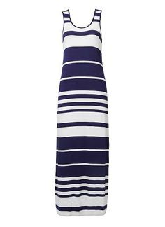 Viscose/Elastane stripe maxi dress. Neat fitting silhouette features all over stripe. Available in Bright Navy as seen below.
