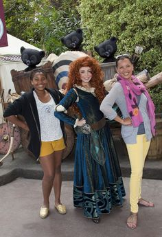 "with daughter Sasha celebrate her  12th birthday with Merida, the adventurous new heroine from Disney-Pixar's, ""Brave"" at Disneyland in Anaheim, California on May 18, 2012."
