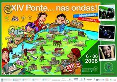 [Asociación Cultural Ponte... nas ondas!, 2008] Identity, Santiago De Compostela, Libraries, Waves, Poster