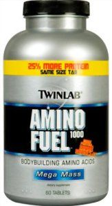Twinlab Amino Fuel 1000 Mega Mass, 150 Tablets (Pack of 2) by Twinlab. $23.38. DOUBLE VALUE PACK! You are buying TWO of TwinLab Amino Fuel 1000, 150 tablets- Buy more and save!. Highest quality.. Dietary supplement. Bodybuilding amino acids. More protein, more muscle. 25% More protein, same size tab. The science behind the size: Product: New and improved with 25% more protein in the same size tablet. Higher potency and faster absorbing branched ch