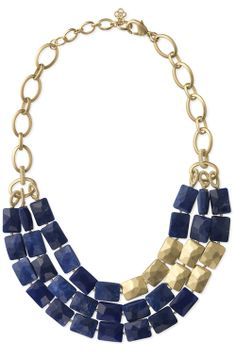 Blue & gold necklace, like the arrangement