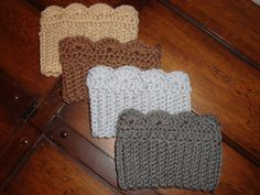"""These crocheted boot cuffs are a great stylish addition to your favorite pair of boots and will help keep your legs toasty warm! These ladies boot cuffs are the perfect cold weather accessory. Team them up with your favorite boots, jeans or leggings. You can wear these two different ways. With a straight edge and also with the decorative edge, they both look great! Each cuff measures 4"""" in height and 11"""" in circumference...they will stretch to 15"""" if necessary. Price: $16.99"""