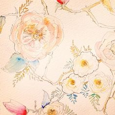 A peek into the studio - Watercolor floral patterns by Kristy Rice.