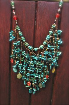 Classic Turquoise long necklace. by ARTSTUDIO51 on Etsy