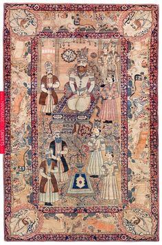 Persian Kerman Laver rug, polychrome palace scene with Nader Shah on his throne with his entourage. Persian Kerman Laver rug, polychrome palace scene with Nader Shah on his throne with his entourage. Persian Carpet, Persian Rug, Patterned Carpet, Animal Nursery, Rustic Rugs, Carpet Runner, Islamic Art, Rugs On Carpet, Stair Carpet