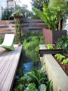 This industrial water feature is gorgeous! I think my dad would totally love the reclaimed-steel-beam look. #PinMyDreamBackyard