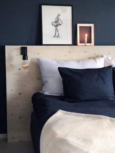 Diy plywood headboard - sengegavl i kryssfiner Bedroom Inspo, Home Bedroom, Modern Bedroom, Diy Bedroom Decor, Kids Bedroom, Home Decor, Plywood Headboard Diy, Diy Bed Headboard, Headboards For Beds