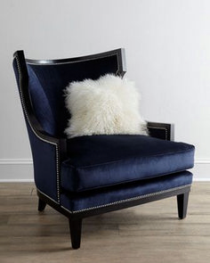 "Armchair ""Elmira"" Armchair at Horchow. My favorite color. Is this navy or a dark royal?""Elmira"" Armchair at Horchow. My favorite color. Is this navy or a dark royal? Pillow Room, Living Room Pillows, Living Room Decor, Home Furniture, Furniture Design, Blue Armchair, Velvet Armchair, Take A Seat, Sofa Chair"