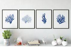 Indigo print Blue coral poster Indigo seaweed painting