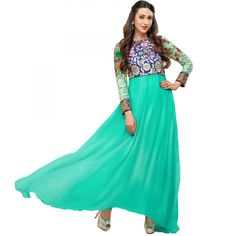 CouponRani - Persian Green Floral Anarkali For Just Rs.695. Shop Now at Peachmode.