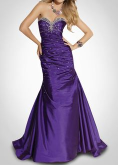 Stunning Purple Prom Dress With Beadings