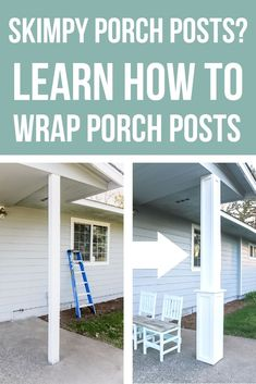 Looking to add curb appeal to your house? Give your skinny porch posts a makeover! This tutorial will show you how to beef up your boring porch posts and add column covers for some major curb appeal! Decor Style Home Decor Style Decor Tips Maintenance Front Porch Posts, Front Porch Columns, House Columns, Porch Beams, D House, House With Porch, House Front, Curb Appeal Porch, Craftsman Style Porch