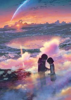 """Miyamizu Mitsuha"" ""Tachibana Taki"" | Original Art by Makoto Shinkai"