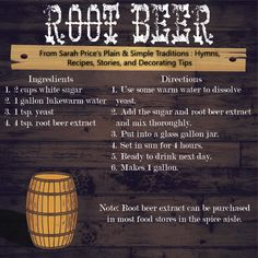 How about a recipe for homemade root beer? My upcoming book Plain & Simple Traditions: Amish & Mennonite Holidays will be available on December Just in time for Christmas! PREORDER S. Homemade Root Beer, Homemade Rootbeer Recipe, Homemade Wine, Brewing Recipes, Beer Recipes, Recipies, Non Alcoholic Drinks, Cold Drinks