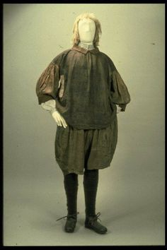 Seaman's Slops. Museum Of London. According to the museum of London this style of clothing was worn by seamen from the 16th century (1500s) ...Notice the pattern on the main body of the frock. This is apparently made from Lindsey Wolsey, a mix of linen & wool. http://collections.museumoflondon.org.uk/Online/object.aspx?objectID=object-83031&rows=1&start=2&sort=summaryTitle%20asc;