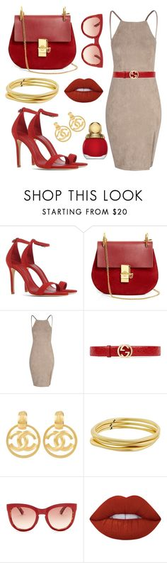 """""""❤️"""" by sanela-enter ❤ liked on Polyvore featuring Schutz, Chloé, Glamorous, Gucci, Chanel, Karen Kane, Smith Optics, Lime Crime and Christian Dior"""