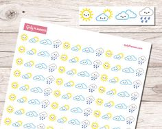 156 Mini Kawaii Weather Icons Printable Planner by GirlyPlanners
