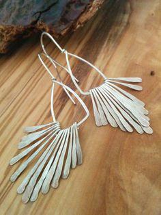 Daedalian Wings Modern Silver Earrings by SweetMintBoutique, $32.00