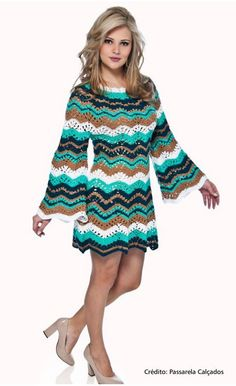Nice Mini Dress or Tunic in different colours - with all the charts at source