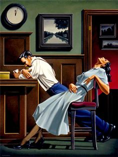 """R. Kenton Nelson   """"On returning home from being in midtown New York on 9/11, I had the crazy idea to do a 'figurative alphabet'. This was the image I painted… the letter """"X"""". It went no further…"""" --RKN"""