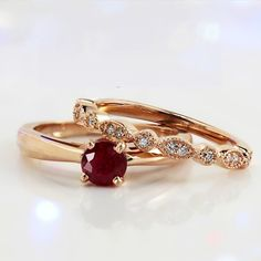 Pretty Engagement Rings, Ruby Wedding Rings, Vintage Diamond Wedding Bands, Deco Engagement Ring, Gemstone Engagement Rings, Rose Gold Engagement Ring, Vintage Engagement Rings, Wedding Ring Bands, Ruby Ring Vintage