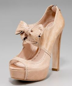 nude, leather, peep-toe, bow...check x4!