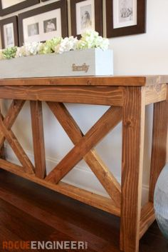 DIY X-brace Console Table | Free Plans | Rogue Engineer (1)