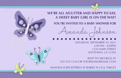 NoJo Beautiful Butterfly Digital Girl Baby Shower Invitation - You Print - Pretty Purple Butterflies and Flowers on Etsy, $14.99