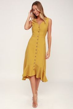 The Lulus When We First Met Mustard Yellow Button Front Midi Dress is perfect fo. The Lulus When We First Met Mustard Yellow Button Front Midi Dress is perfect for anyone with a nostalgic heart! Sleeveless midi dress with button placket. Cute Dresses, Beautiful Dresses, Casual Dresses, Fashion Dresses, Summer Dresses, Women's Dresses, Dresses Online, Dance Dresses, Stylish Dresses
