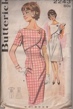 Butterick Pattern 2243; circa. 1962; DRESS WITH BOLERO FRONT. A: Back zippered fitted princess dress with shallow neckline, set in short sleeves, top stitched trim with side buttoned mock bolero sewin in at side seams. B: Sleeveless, flared version.