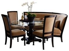curved dining settee | pretty fabulous round dining table w/ 3 chairs & banquet settee | Shel