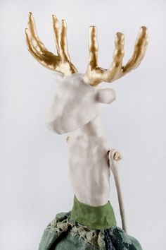 SALE, Clay Deer Lady,  Art Doll with Golden Antlers, Stag Art Object, Folk Inspired,Poupée Tissus, Ceramic Ornament, Wildlife, Air Dry Clay on Etsy, $355.00