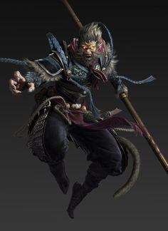 by yang on ArtStation. 3d Model Character, Character Concept, Character Art, Character Design, Monkey Art, Monkey King, Arte Black, Hanuman Wallpaper, King Tattoos