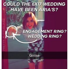 This was taken from Ashley's most recent Snapchat when they were on set for 6x17 yesterday. I know that it looks like it's Lucy's right hand but it's very possible the view is flipped and that definitely looks like an engagement ring on her ring finger! I tried pausing the video a million times to see if she also had a wedding ring on as well but it's just too blurry to tell. Either way I'm really thinking that the 6x17 wedding is Aria's! It definitely isn't Hanna's Emily's Alison's or…