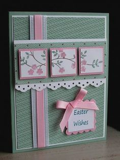 handmade Easter card ... Stamps: Thoughts & Prayers... By card crazy ... cherry blossom branch tilennd on layered inchies on a panel ... luv the dusty green with pink and white accents ...