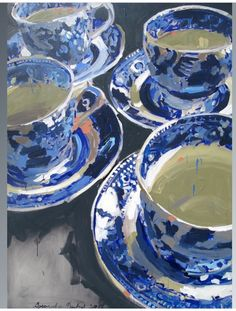 Blue and White Tea Cups …a painting by Laura Lacambra Shubert Painting Still Life, Still Life Art, Paintings I Love, Arte Van Gogh, White Tea Cups, Blue And White China, Blue China, Guache, Wow Art