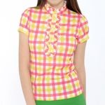 Codetagi 여성 프릴 체크 티셔츠-13LTM121