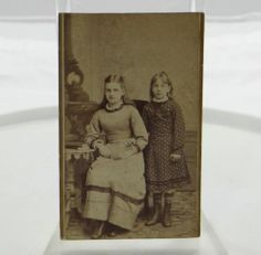 Antique Carte De Visite Photo Young Girls Immke Portrait Princeton Illinois 86