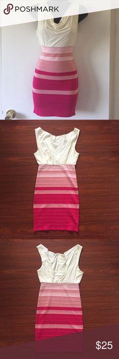 White & Pink Bandage Dress White & Pink Bandage Dress Dresses Mini