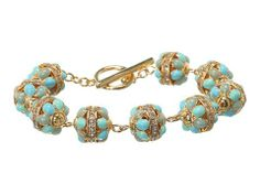 """LAUREN Ralph Lauren BR-7 1/2"""" Openwork Metal Bead With Pave Rosary Linked With Ring And Toggle"""