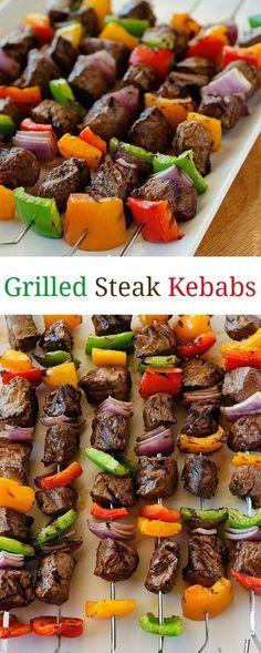 Grilled Steak Kebabs #Grilled #Steak #Kebabs #Tasty #Yummy