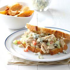 Blue Cheese Chicken Salad Sandwiches Leftover Rotisserie Chicken, Leftover Chicken Recipes, Quick Chicken Recipes, Blue Cheese Chicken, Blue Cheese Salad, Blue Cheese Dressing, Peanut Chicken, Salad Sandwich, Wrap Sandwiches