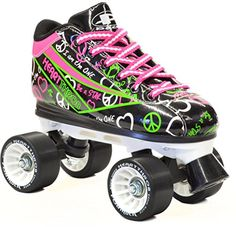 Roller Derby Skates - Pacer Black  Neon Heart Throb Quad Roller Speed Skates with Bonus 3 Pr Laces Ladies 6  Mens 5 >>> You can get more details by clicking on the image.