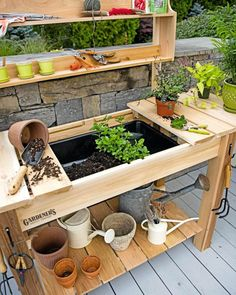 Potting Bench – Cedar Potting Table with Soil Sink and Shelves – garden shed ideas diy Potting Bench Plans, Potting Tables, Potting Soil, Potting Sheds, Potting Bench With Sink, Outdoor Potting Bench, Outdoor Plant Table, Outdoor Benches, Planter Table