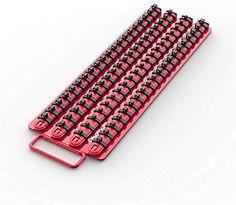 Aluminium SAE standard Socket Holder Rail et Clips outil Organisateur plateau avec clips
