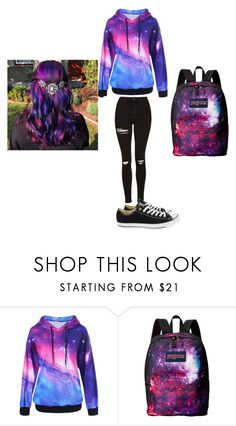 """#Galaxy"" by queenrennyq ❤ liked on Polyvore featuring JanSport and Converse"