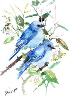 Mountain Bluebirds original watercolor painting 15 by ORIGINALONLY, $48.00