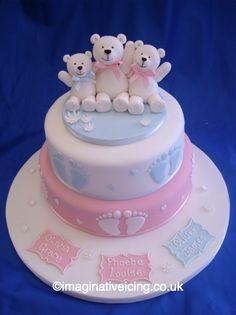 Family Teddy Bear Christening Cake