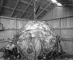 Gadget, the first Atomic Bomb--detonated in the Trinity nuclear test as part of the Manhattan Project. 1945